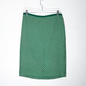 Talbots Skirt Womens 6 Green White Pencil Straight